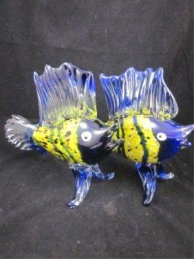 TWO MURANO BLUE & YELLOW ART GLASS SAILFISH, SOLD T