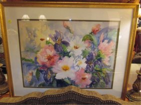 FLORAL STILL LIFE WATERCOLOR, SIGNED BY ARTIST FRA