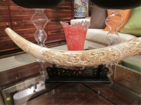 MARINE IVORY TUSK WITH TWO FIGHTING DRAGONS, APPRO