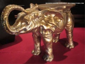 """SMALL GOLD FINISH ELEPHANT SIDE TABLE, APPROX 20"""" L"""