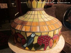 STAINED GLASS STYLE CEILING LIGHT, BIRDS, GRAPES AND