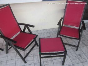 6 PC CONTEMPORARY PATIO SET, 4 ARMCHAIRS AND 2 OTTOM