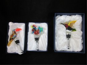 MURANO ART GLASS BIRD BOTTLE STOPPERS, APPROX. 4 1/