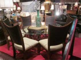 NEW NEVER USED TROPICAL STYLE HEAVY RATTAN DINING T