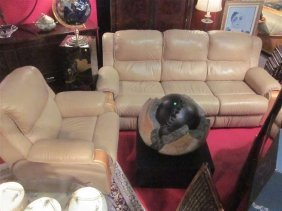2 PC LEATHER DUAL RECLINING SOFA AND RECLINING ARMC