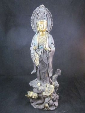 VINTAGE BRONZE & BRASS QUAN YIN WITH CALLIGRAPHY, A