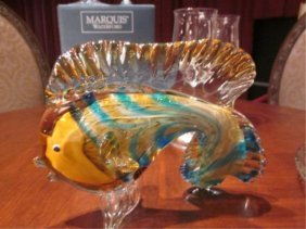 "MURANO STYLE ART GLASS FISH SCULPTURE, APPROX 7"" H"