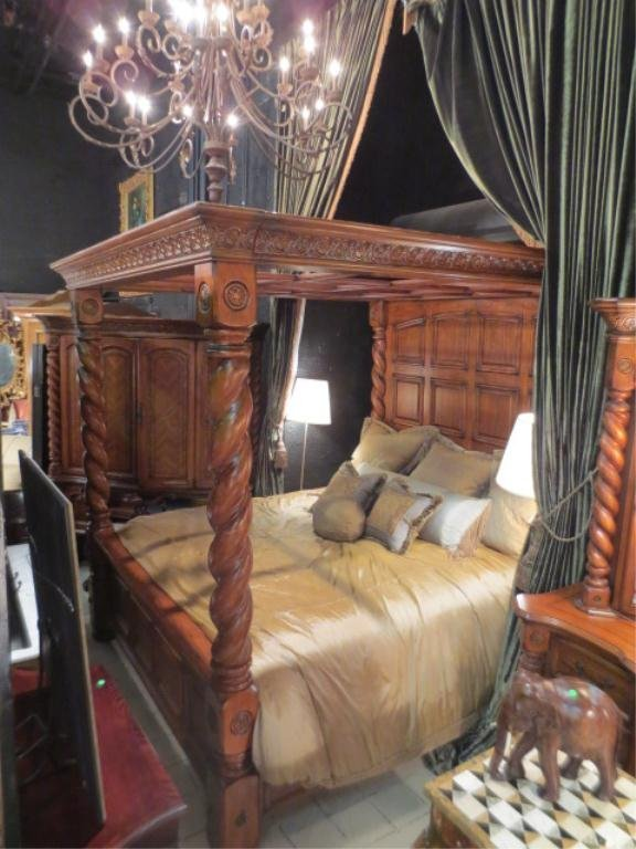 60 Solid Wood King 4 Poster Canopy Bedroom Set Englis