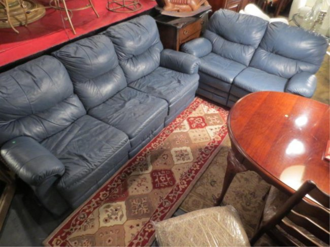 37: 2 PC SLATE BLUE LEATHER SOFA AND LOVESEAT, EACH HAV