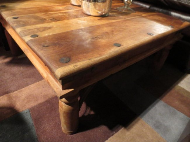 186 Rustic Coffee Table With Nailhead Trim Scrolling Lot 186