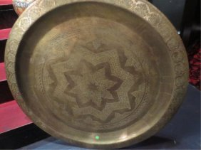 LARGE VINTAGE BRASS TRAY, INDIA OR PAKISTAN, ETCHED