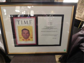 FRAMED BEN HOGAN TIME MAGAZINE DISPLAY, WITH CERTIFICAT