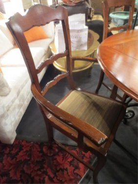SET OF 4 ITALIAN WALNUT DINING CHAIRS, ARMCHAIRS HAVE U