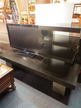 CONTEMPORARY ENTERTAINMENT CONSOLE, ASYMETRICAL SHELVES