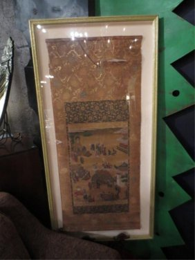 "LARGE FRAMED JAPANESE SCROLL, APPROX 53"" X 26"""