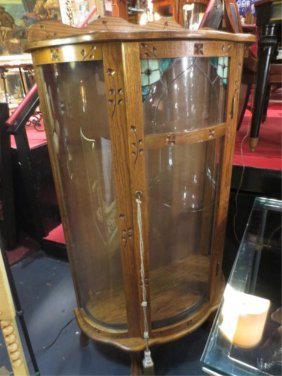 ANTIQUE OAK CABINET, CURVED GLASS FRONT, APPROX 5'H