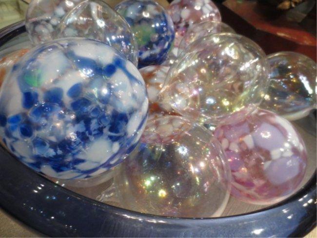Bowl full of blown glass decorative balls approx quot d