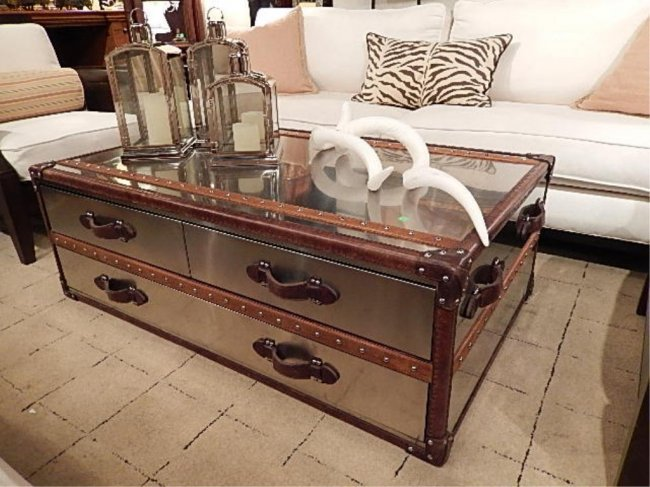Polished metal clad steamer trunk style coffee table lot 161 Metal chest coffee table