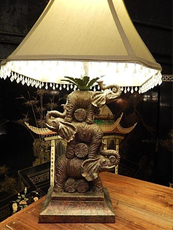 Stacked elephant table lamp bead fringe shade approx lot 220