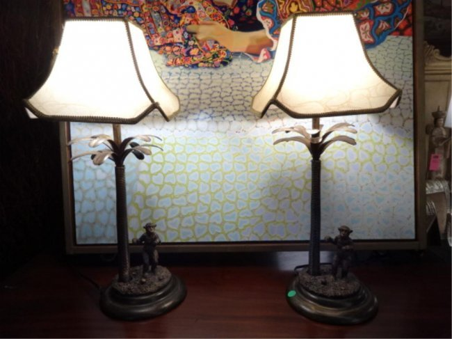 Pair Palm Tree And Monkey Lamps Pagoda Style Shades