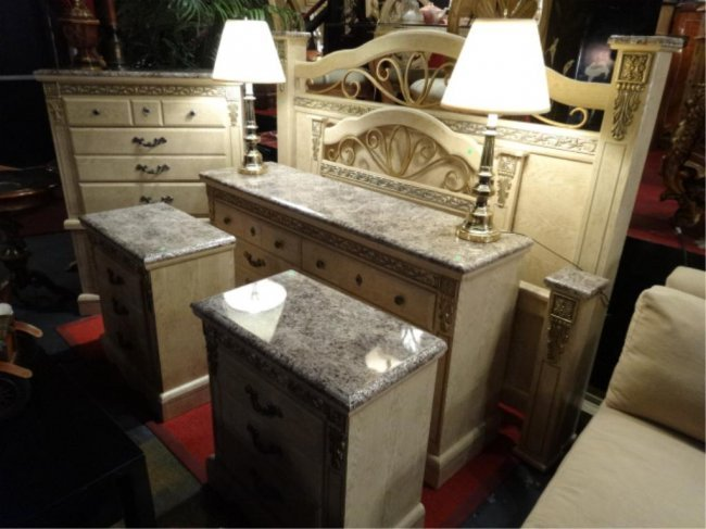 6 Pc King Bedroom Set Faux Marble Tops Includes Lot 109a