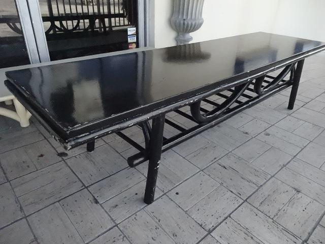 Mid Century Modern Rattan Coffee Table Black Finish Lot 107d