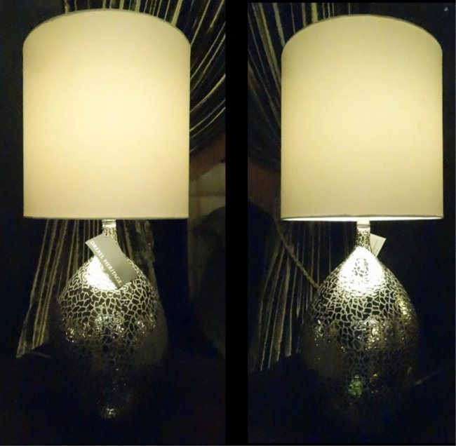 Pair New Drexel Heritage Lamps Silver Finish With Lot 37e