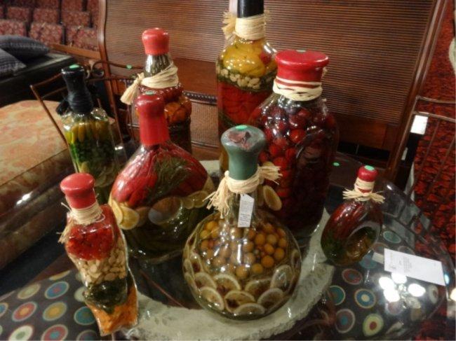 8 Pc Decorative Preserved Vegetable Fruit Jars Largest Lot 50c