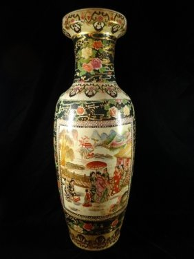 Large Satsuma Style Made In China Floor Vase 24 1 2 Ta