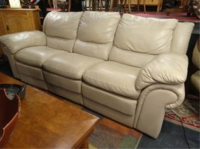 Contemporary Leather Dual Reclining Sofa, Pale Beige,