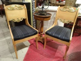 Pair Gilt Wood Neoclassical Chairs, Gold Gilt Carved