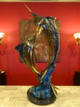Large Patinated Bronze 2 Marlins Sculpture, On Marble