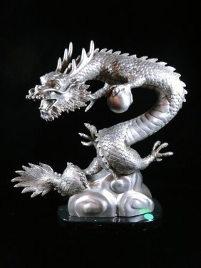 Silver Patinated Bronze Sculpture, Chinese Dragon,
