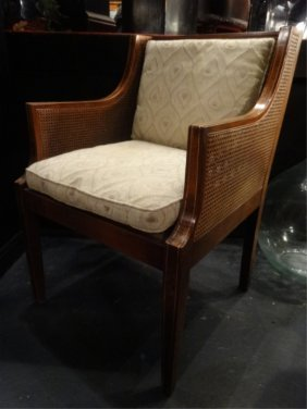 Karpen Mid Century Armchair, Cane Seat And Back,