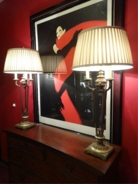 Pair Large Neoclassical Buffet Lamps, Candelabra Style