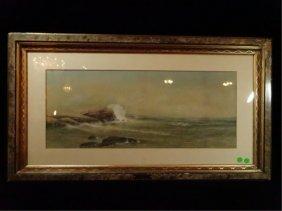 "George Howell Gay Watercolor, ""coastal Seascape""."