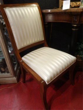 Pair Regency Style Chairs, Gold Striped Upholstered