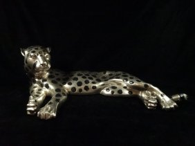 Silver Patinated Sculpture, Reclining Cheetah, Approx