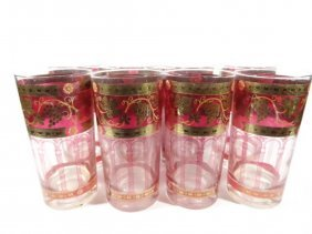 8 Vintage Tumblers, Cranberry & Gold Design, Approx 5