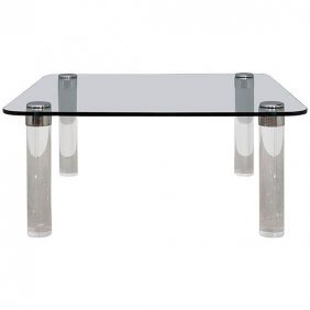 Pace Collection Lucite And Brass Coffee Table,