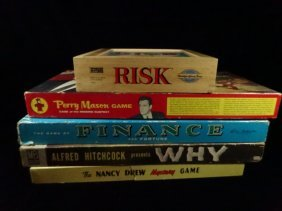 5 Pc Vintage Board Games, Includes Risk, Nancy Drew,