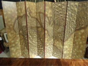 Gold Finish Carved 8 Panel Floor Screen, 2 Peacocks,