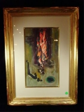Emil Bistram Painting, Abstract Fire, Signed Lower