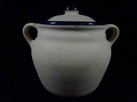 Stoneware Vase, Beige Exterior With Cobalt Glazed Trim