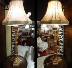 Pair Column Style Buffet Lamps, Gold Finish, Bases Are