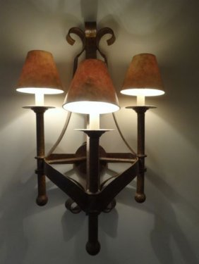 Pair Ornate Metal Wall Sconces, 3 Lights Each, Approx