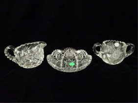3 Pc Crystal Dish, Creamer, & Open Sugar Bowl, Dish