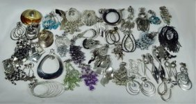 70 Pc Costume Jewelry, Includes 50 Pairs Clip Earrings,