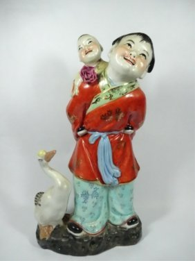 Chinese Porcelain Sculpture, Monk With Child And Goose,