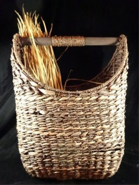 Woven Magazine Basket, With Decorative Group Of Rushes,